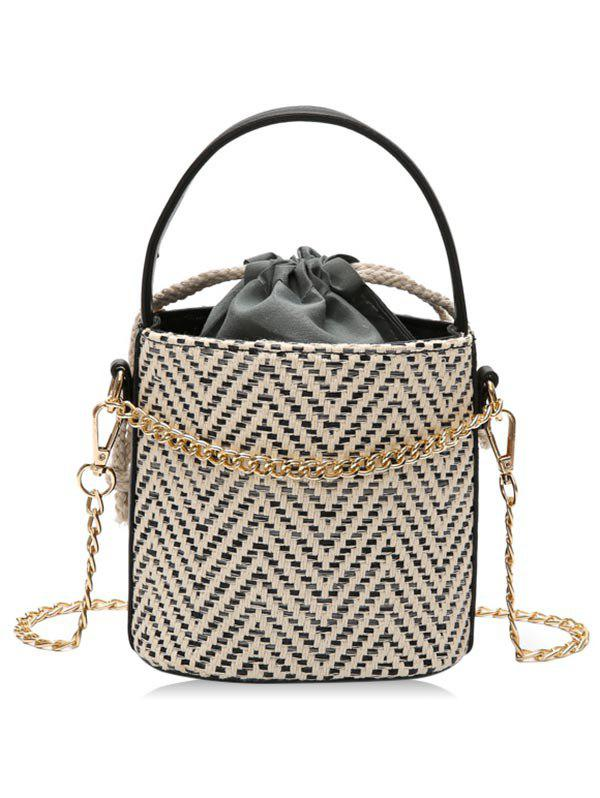 Fashion Woven Strawstring Inner Pocket Chain Crossbody Bucket Bag