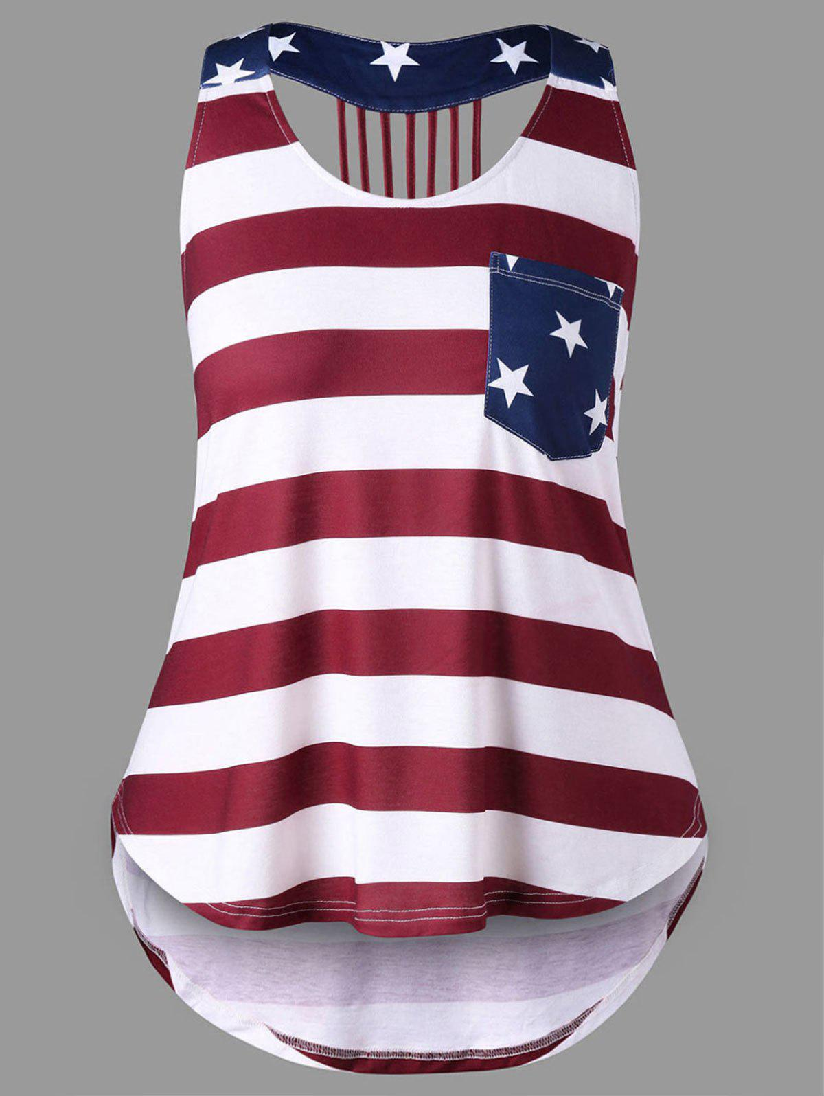 5497dafec79 Outfit Plus Size American Flag High Low Tank Top