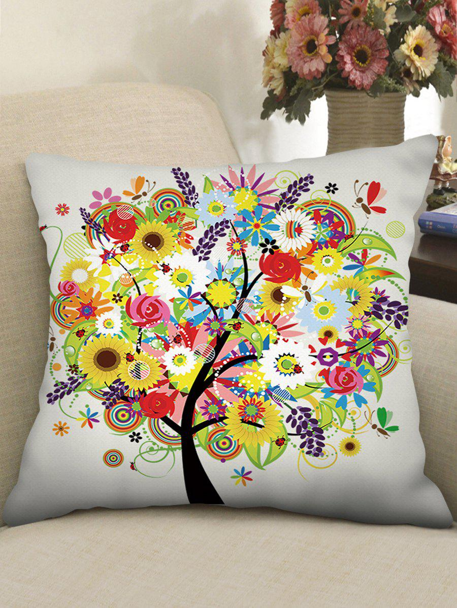 Shop Flower Tree Print Decorative Linen Sofa Pillowcase