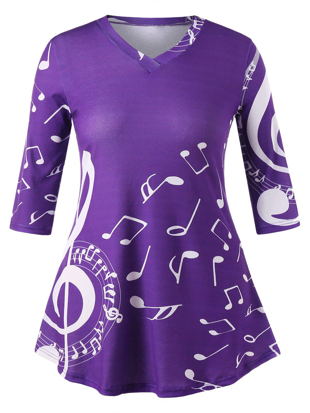 Online Plus Size Tunic Music Note Print T-shirt