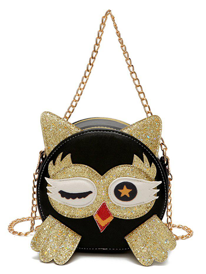 Shops Owl Pattern PU Leather Paillette Patchwork Crossbody Bag