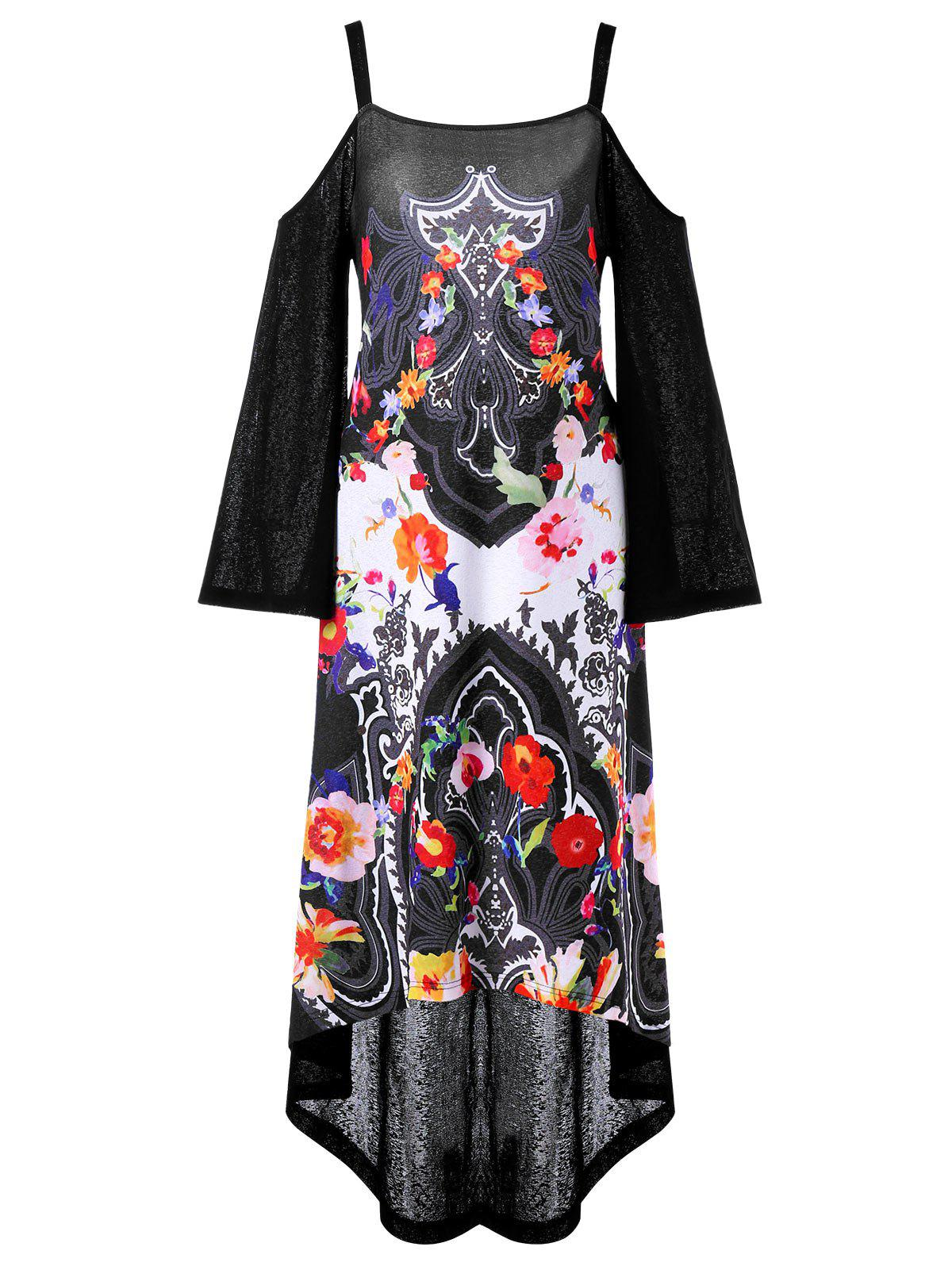 Latest Asymmetrical Open Shoulder Printed Party Dress