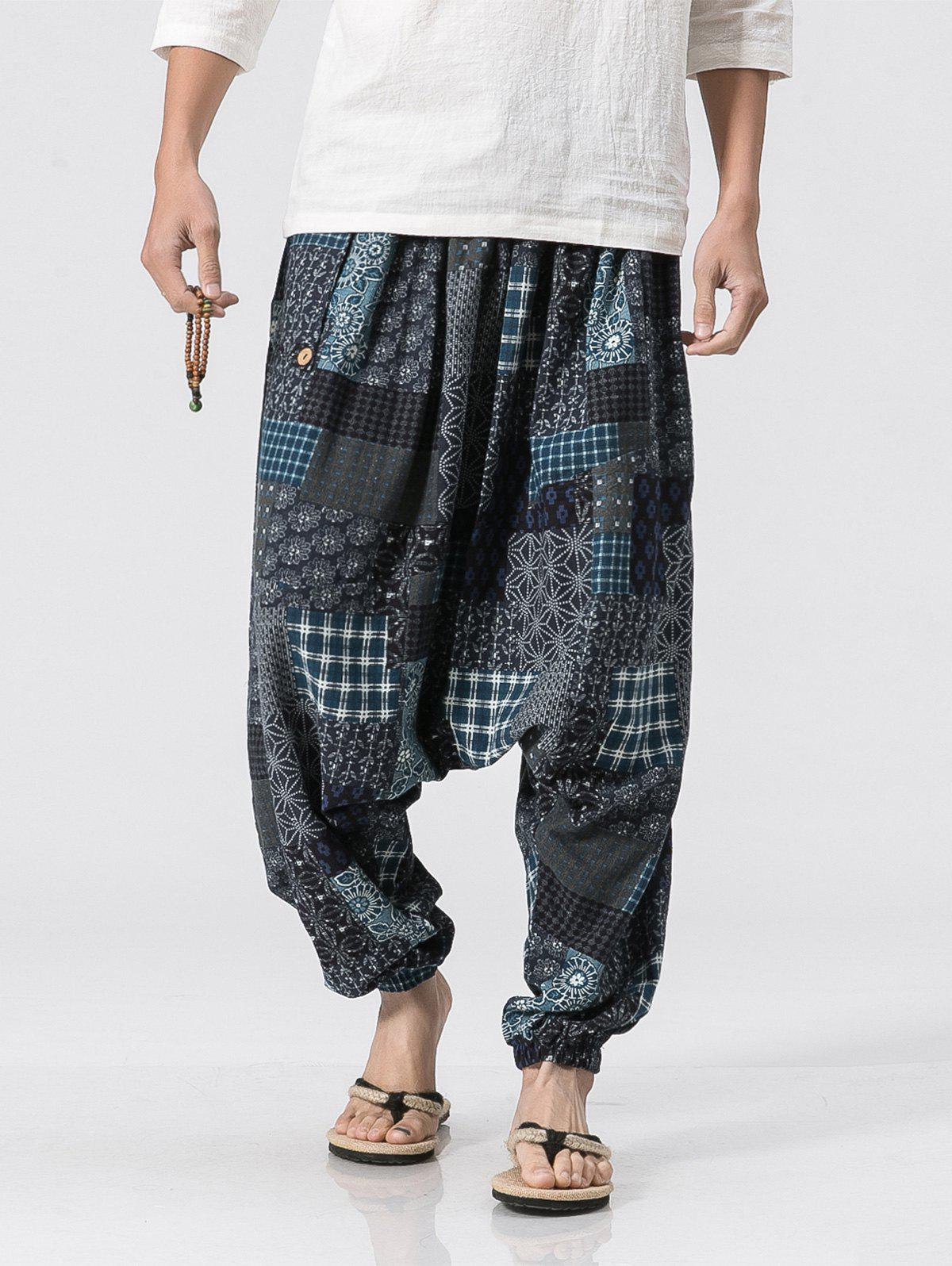 Unique Cotton Linen Panel Printed Jogger Pants