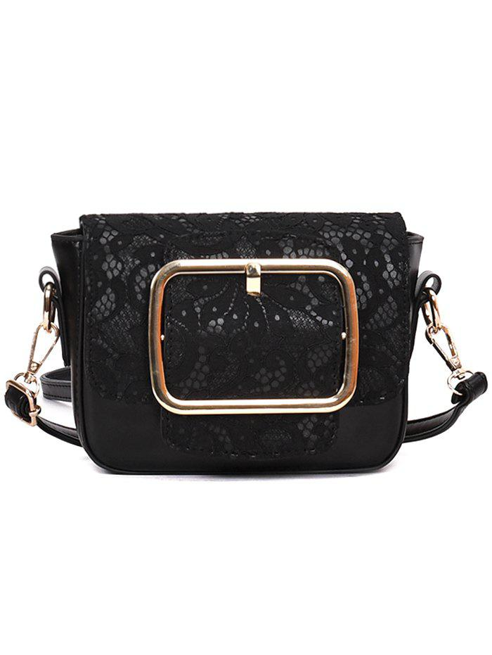 Store Buckle Closure Lace Decoration PU Leather Crossbody Bag