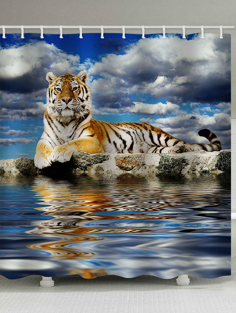 Discount Tiger Near the Water Printed Bath Shower Curtain