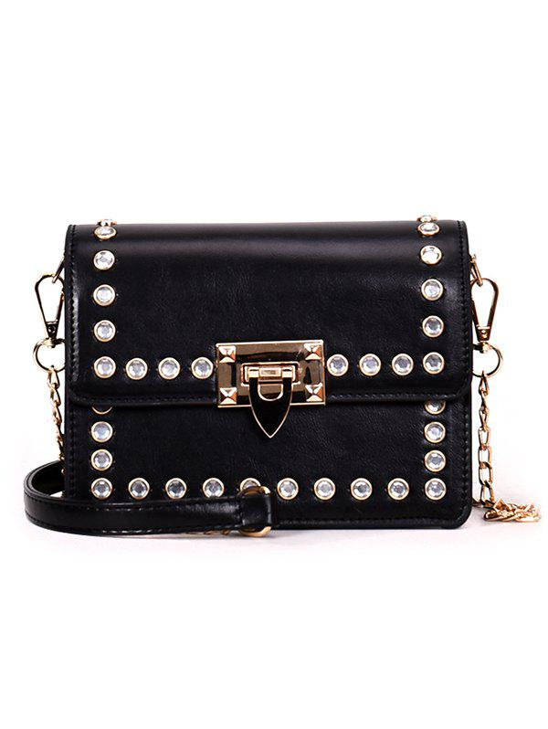 Store Faux Diamond Inlaid Vintage Pattern Chain Crossbody Bag
