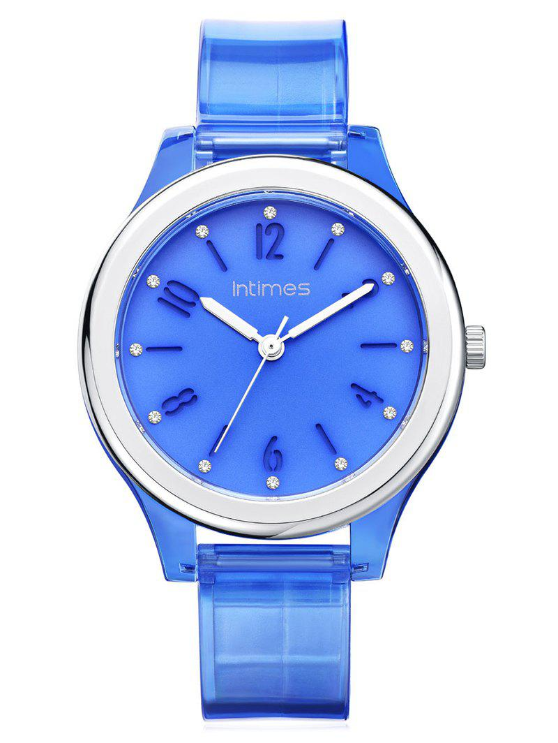 Shops Blue Transparent PU Case and Strap Waterproof Watch
