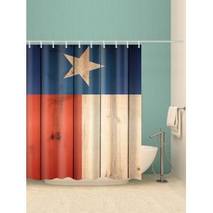Five-pointed Star Wood Planks Print Bathroom Shower Curtain -