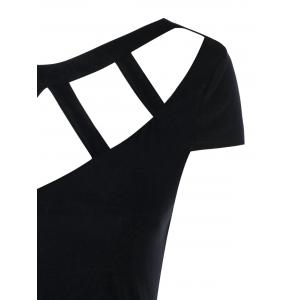 Backless Cut Out Cap Sleeve T-shirt -