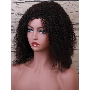 Medium Side Bang Fluffy Curly Human Hair Wig -