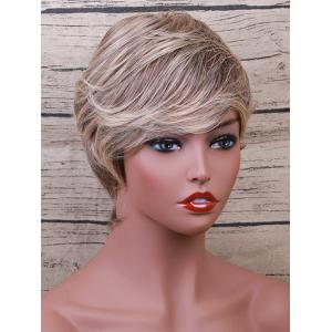 Short Side Bang Layered Colormix Straight Human Hair Wig -