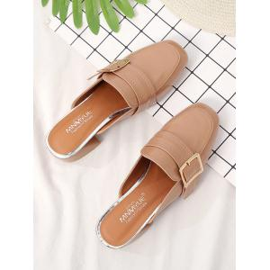 Square Toe Low Heel Chic Mules Shoes -