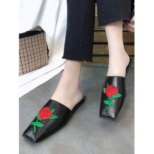 Embroidery Rose PU Leather Square Toe Mules Shoes -