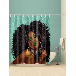 Curly African Girl Print Waterproof Bathroom Shower Curtain -