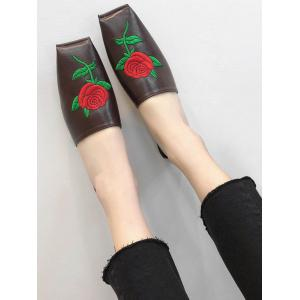 Broderie Rose PU cuir Square Toe Mules Chaussures -
