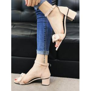 Block Heel Ankle Strap Bowknot Suede Sandals -
