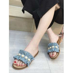 Ruffled Suede Faux Pearl Flat Heel Sandals -