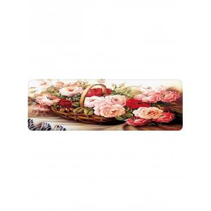 Blooming Flowers Basket Print Floor Mat -