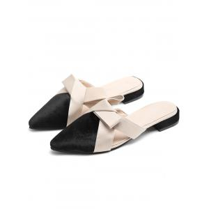 Color Block Cross Strap Mules Shoes -