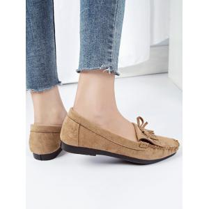 Bowknot Fringes Flat Heel Loafers -