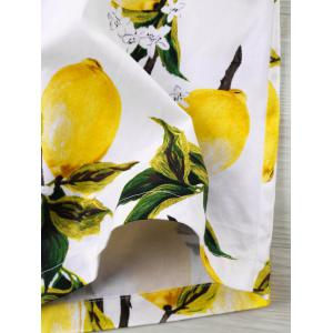 Lemon Print High Waisted Beach Shorts -