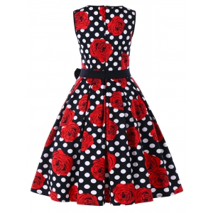 Floral Polka Dot Sleeveless Vintage Dress -