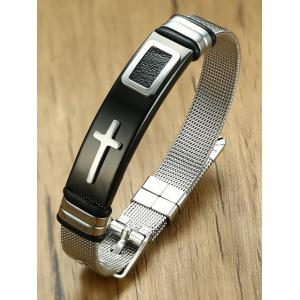 Stainless Steel Crucifix Adjustable Buckle Bracelet -