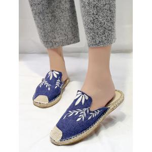 Casual Flat Heel Espadrille Embroidery Mules Shoes -