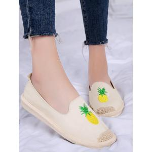 Embroidery Pineapple Round Toe Straw Loafers -