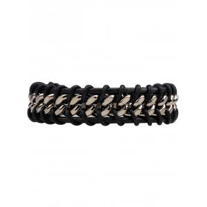 Alloy PU Leather Rope Braid Bracelet -