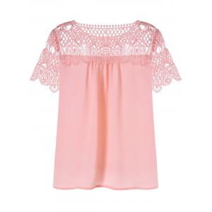 Lace Trim Hollow Out Chiffon Top -