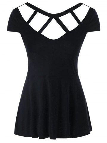 Trendy Backless Cut Out Cap Sleeve T-shirt