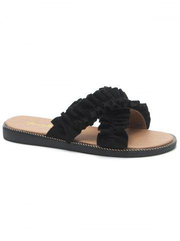 Store Ruffled Criss Cross Flat Heel Suede Slippers