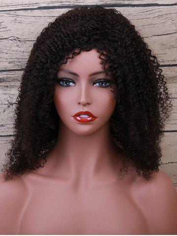 Outfit Medium Side Bang Fluffy Curly Human Hair Wig