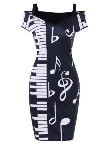 Chic Cold Shoulder Notes Piano Print Party Dress