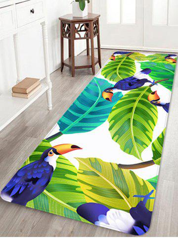 Outfit Birds and Leaves Pattern Water Absorption Area Rug