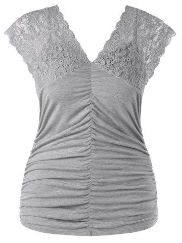 Chic Plus Size Ruched V Neck Tank Top