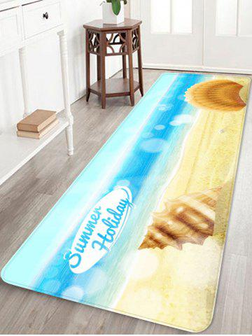 Trendy Sea Waves Shells Beach Printed Area Rug