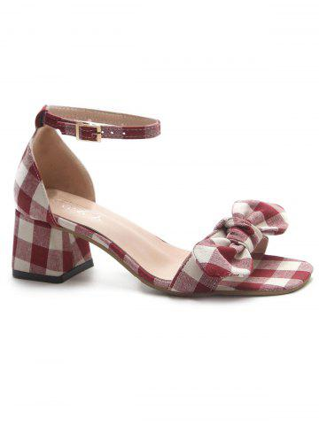 Affordable Chunky Heel Plaid Bowknot Sandals