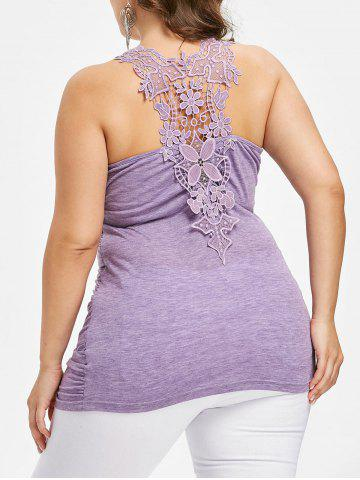 Outfits Plus Size Lace Trim Ruched Tank Top
