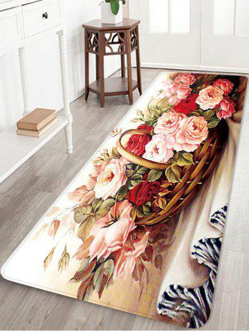 Unique Blooming Flowers Basket Print Floor Mat