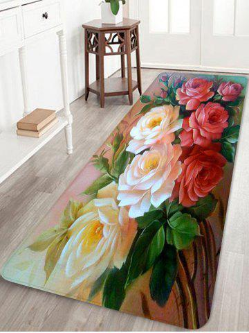 Chic Flowers Pattern Water Absorbing Area Rug