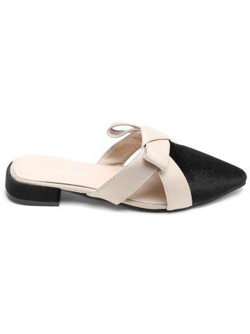 Fancy Color Block Cross Strap Mules Shoes