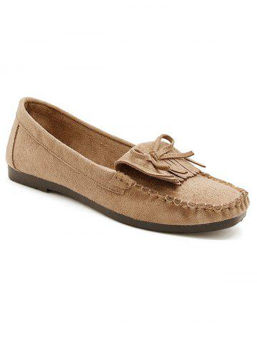 Discount Bowknot Fringes Flat Heel Loafers