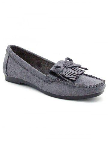 Store Bowknot Fringes Flat Heel Loafers