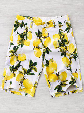 Outfit Lemon Print High Waisted Beach Shorts