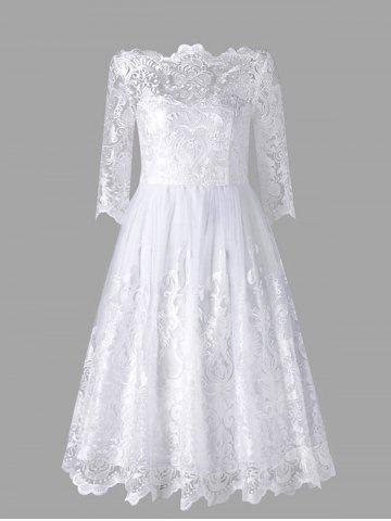 Affordable Three Quarter Sleeve Wedding Lace Dress