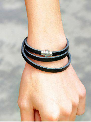 Fancy PU Leather Magnetic Buckle Wrap Bracelet