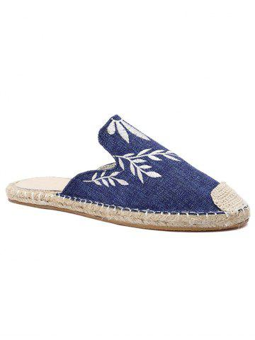 Chic Casual Flat Heel Espadrille Embroidery Mules Shoes