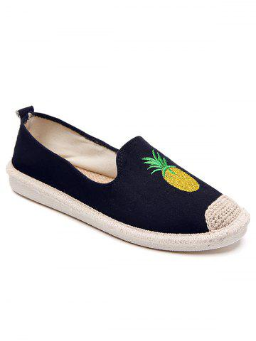 Chic Embroidery Pineapple Round Toe Straw Loafers